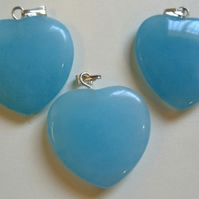 Amazonite heart pendant, 25mm