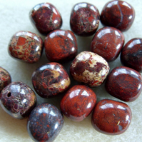Poppy jasper gemstone bead
