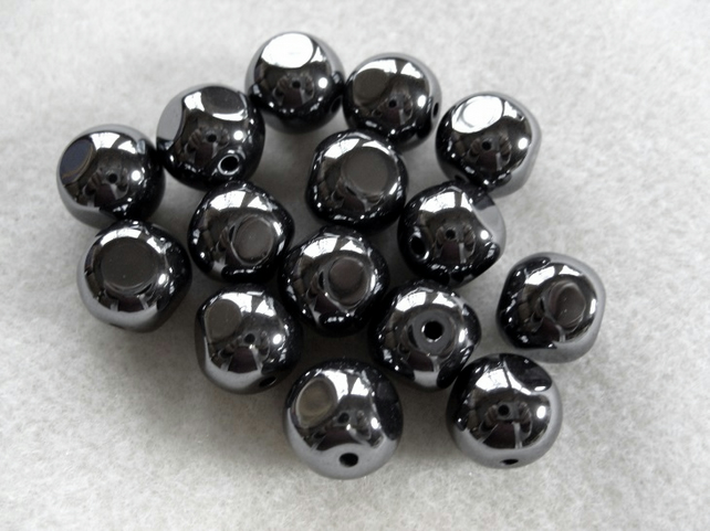 Haematite baroque gemstone bead, 12mm