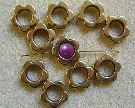 10, plated flower frame beads, antique gold