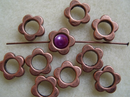 10, plated flower frame beads, antique copper