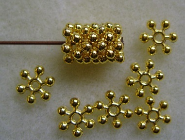 50, gold plated daisy spacer beads, 8.5mm