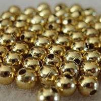 100 gold plated shiny metal beads, 3mm round