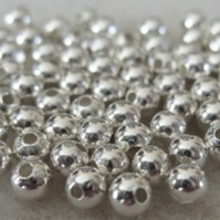 100 silver plated metal beads, 3mm round