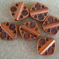 6 metal paddle beads, antique copper, 12mm x 12mm