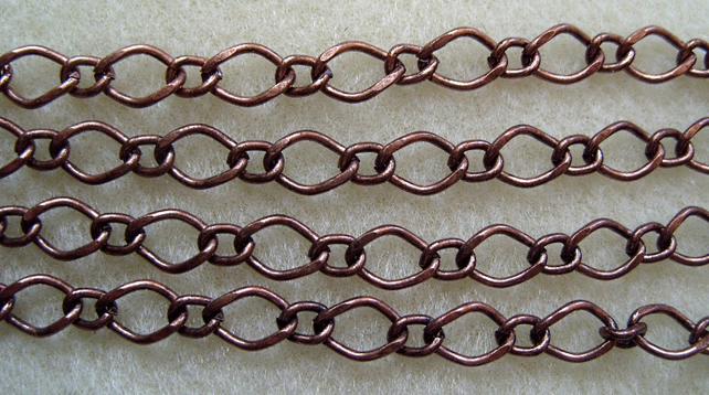 1 metre antique copper fancy plated jewellery chain, 6mm x 9mm
