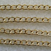 SALE 1 metre gold plated curb chain 5x4mm