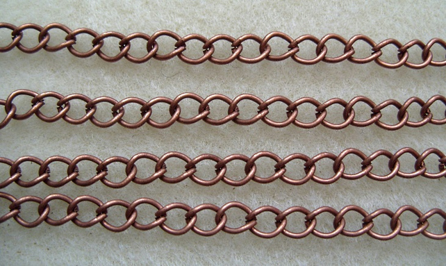 1 metre antique copper plated curb chain 7 x 5mm