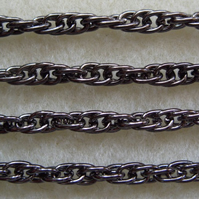 1 metre black twisted rope chain