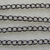 1 metre black plated curb chain 5x4mm