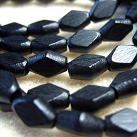 30, diamond shape wooden beads, black