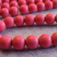 25, painted 10mm wooden beads, pink
