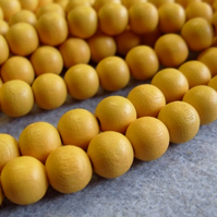 25, painted 10mm wooden beads, yellow