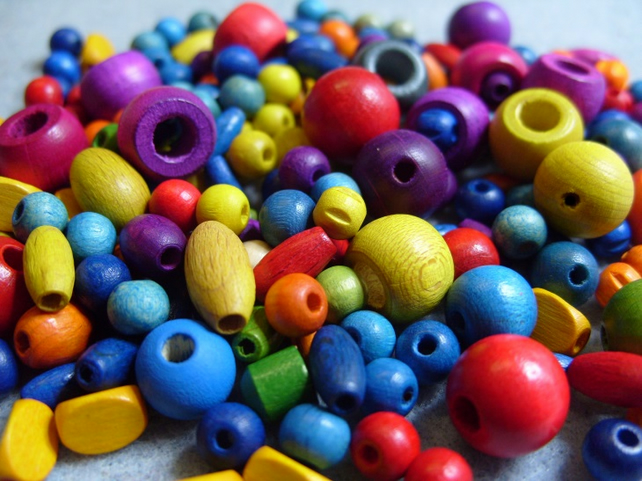 30 gram pack, mixed wooden beads