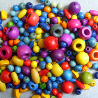 Large pack, mixed wooden beads
