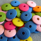 30, painted wooden disc beads, mixed colours