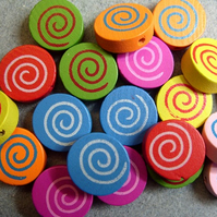 20, painted round wooden beads, swirl pattern, mixed colours