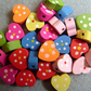 30, painted heart shaped wooden beads, dotty pattern, mixed colours
