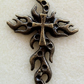 Flaming cross metal pendant