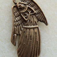Gothic angel pendant, 28mm, antique brass
