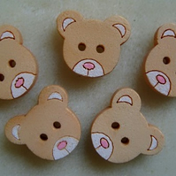 10, hand painted, wooden teddy buttons