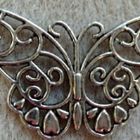Butterfly pendant, antique silver plated