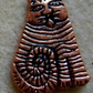 Stripey cat charm, copper