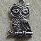 Owl charm, silver plated