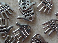 10 hand made hand charms, silver plated