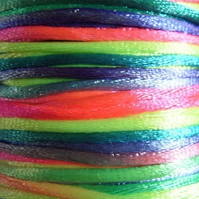 5 metres, 2mm multicolour rattail cord, neon