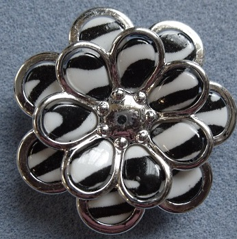 Focal flower bead, 47mm, zebra pattern