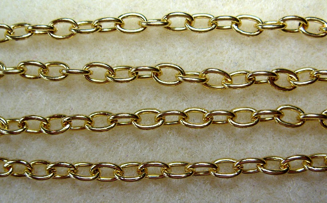 1 metre trace chain, gold plated, 6mm x 4mm