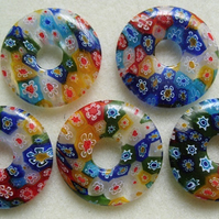Millefiori glass donut bead