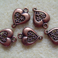 5, heart connector beads with filigree flowers, antique copper