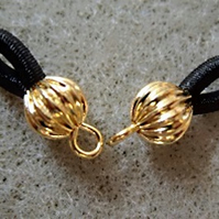 Pair of glasses cord ends, gold plated