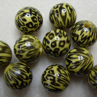 10 acrylic animal print beads, 13mm, yellow