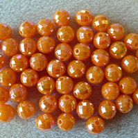 50, faceted acrylic beads, 8mm, orange