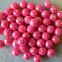 50, faceted acrylic beads, 8mm, pink