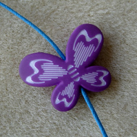 Butterfly bead, purple, 30mm x 22mm