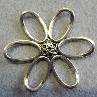 50mm flower connector or pendant, silver plated