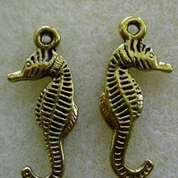 Seahorse charm, plated metal, antique gold