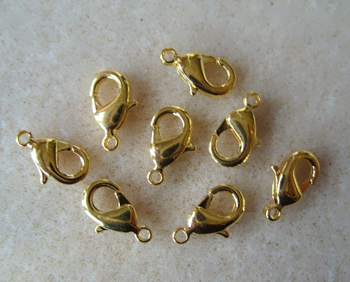 8 trigger clasps, 13mm, gold plated