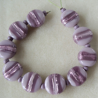 Strand 10 hand made Indian glass coin beads,15mm, mauve, foil stripes
