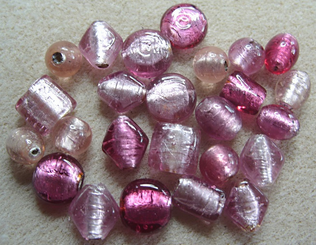 25 hand made Indian glass beads, pink foiled mixed