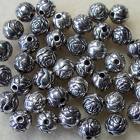 40 metallised rose bud beads, 6mm