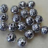 20 metallised rose bud beads, 8mm