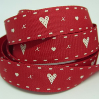 15mm hearts and kisses ribbon, 1 metre.