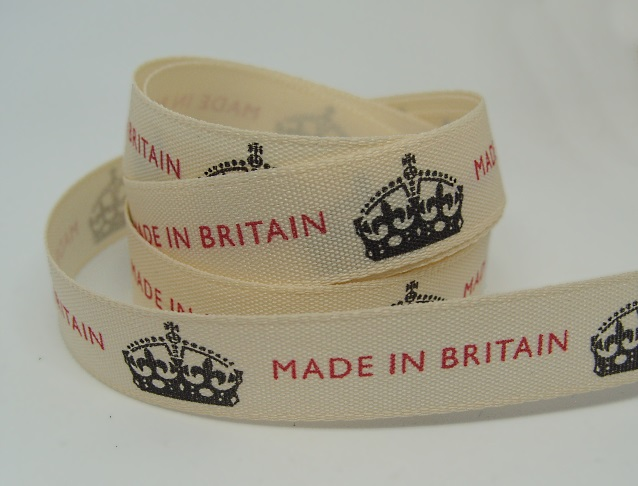 15mm Made in Britain ribbon, 1 metre.