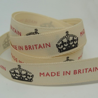 SALE 15mm Made in Britain ribbon, 1 metre.