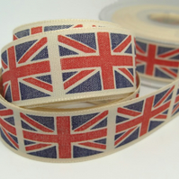 25mm Union Jack ribbon, 1 metre.